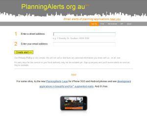 www.planningalerts.org.au website