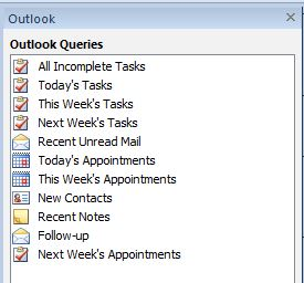 Outlook query list