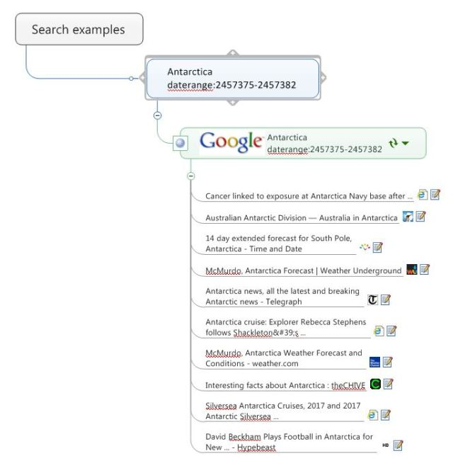 Google search map part with daterange operator added