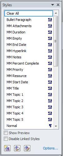 Word style list