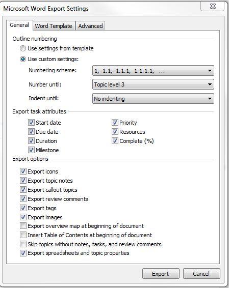 MM Word export options