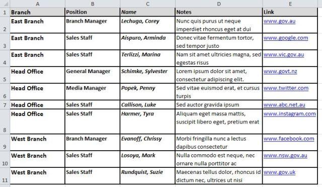 Execel table 1