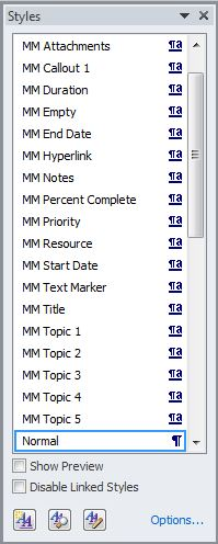 MM Word Styles List