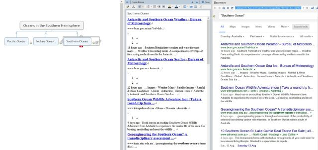 An example of Google search run in MindManager with results saved from the browser to a Topic Note