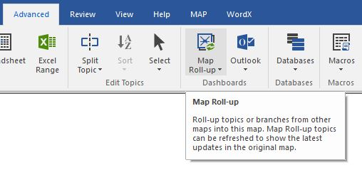 Map Roll-up icon on the Advanced menu