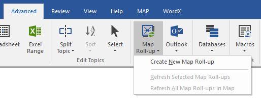 Map Roll-up menu options